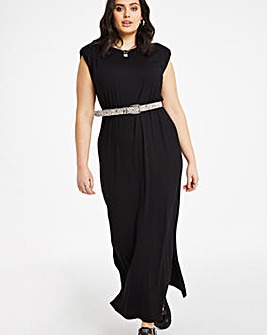 Black Shoulder Pad Midaxi Dress