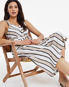 Striped Square Neck Linen Mix Culotte Jumpsuit