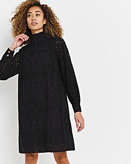 Black Broderie Cotton Dress