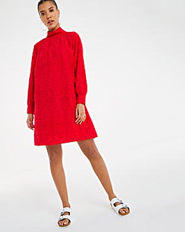 Red Broderie Cotton Dress