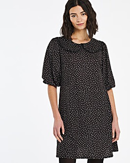 Heart Print Collar Detail Swing Dress