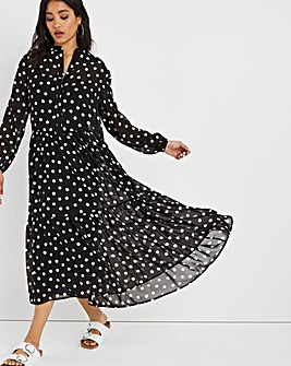Black/Ivory Spot Print Sheer Tiered Midi Dress