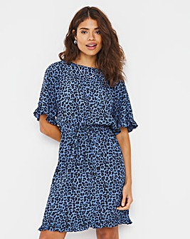 Blue Animal Drawcord Waist Tunic Dress