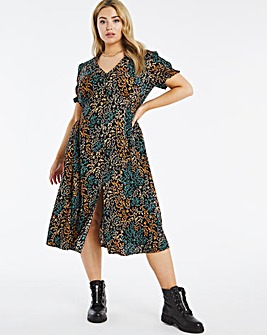 Butterfly Print Button Through Dress