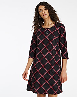Baked Pink Check 3/4 Sleeve Swing Dress