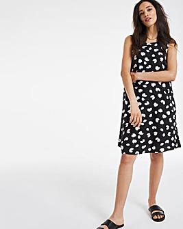 Mono Print Linen A-Line Swing Dress