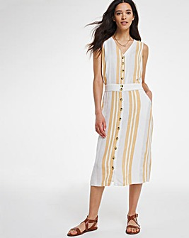 Button Front Striped Linen Mix Midi Dress