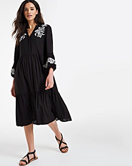 Black Embroidered Puff Sleeve Midi Dress