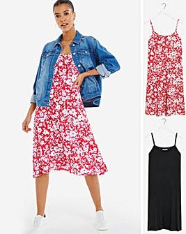 Red Floral 2PK Midi Cami Dresses