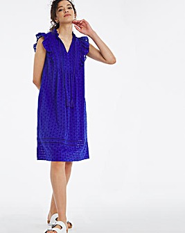 Blue Pleat Broderie Shift Dress with Bib Detail