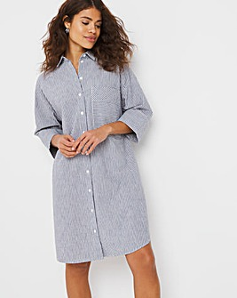 Grey Stripe Oversized Linen Mix Shirt Dress