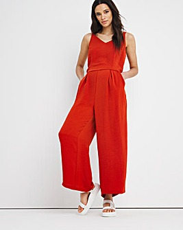 Terracotta Tie Waist Wide Leg Jumpsuit with Pockets