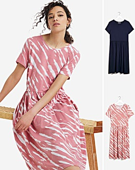 2 Pack Pink Print/Navy Short Sleeve Midi Smock Dresses