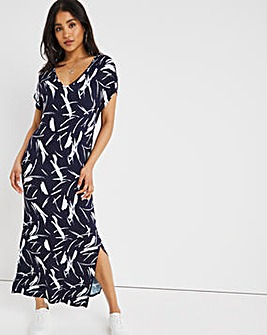Blue Print Midi T-Shirt Dress with Side Splits