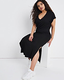 Black Midi T-Shirt Dress with Side Splits