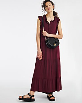 Aubergine Tiered Ruffle Neck Midi Dress