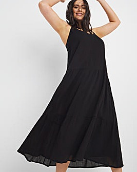 Black Crinkle Tiered Cami Dress