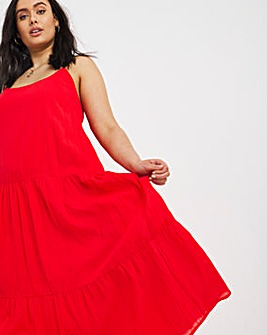 Red Crinkle Tiered Cami Dress
