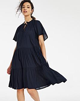 Indigo Angel Sleeve Tiered Lightweight Sheer Smock Dress