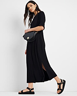 Black Belted Jersey Dress