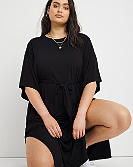 Black Belted Jersey Dress