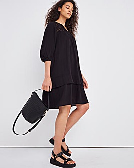 Black Lace Detail Smock Dress