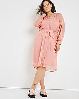 Pink Dobby Midi Dress