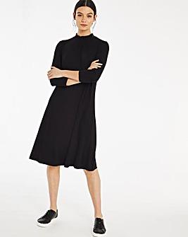 Black Shirred High Neck 3/4 Sleeve Swing Dress