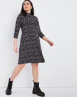 Mono Spot Shirred High Neck 3/4 Sleeve Swing Dress