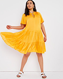 Ochre Angel Sleeved Tiered Lightweight Sheer Smock Dress