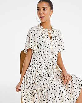 Ivory Print Angel Sleeved Tiered Lightweight Sheer Smock Dress