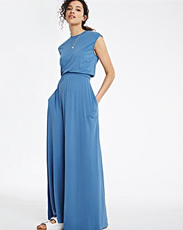 Washed Blue Shirred Waist Maxi Dress