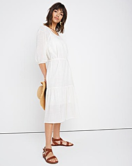 Ivory Check 3/4 Sleeve Belted Dress