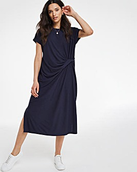 Navy Knot Front Dobby Jersey Midi T-Shirt Dress