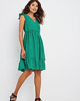 Green Spot Tiered Ruffle Sleeved Dress