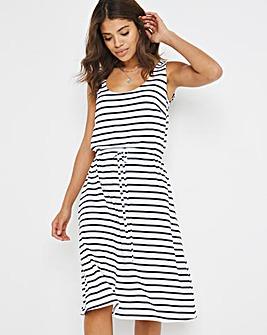 Navy Stripe Knee Length Vest Dress