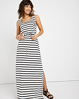 Black and White Striped Vest Maxi Dress