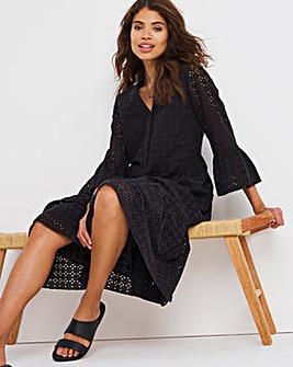 Black Broderie Puff Sleeve Midi Dress