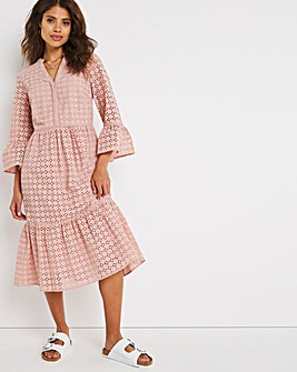 Pink Broderie Puff Sleeve Midi Dress