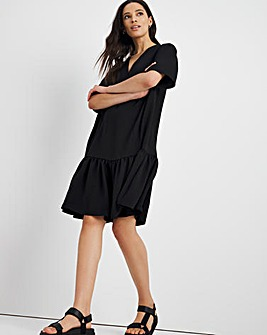 Black Herringbone Twill Relaxed Tiered Dress