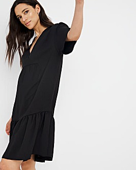 Black Herringbone Twill Relaxed Tiered Dress