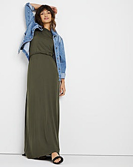 Khaki Shirred Waist Maxi Dress