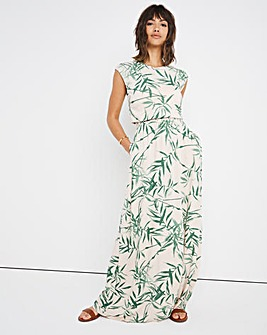 Bamboo Print Shirred Waist Maxi Dress
