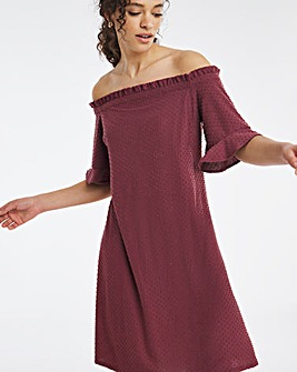 Aubergine Bardot Dobby Dress