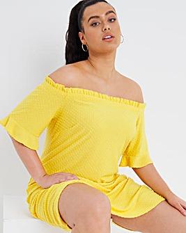Yellow Bardot Dobby Dress