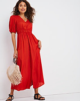 Terracotta Shirred Waist Tea Dress