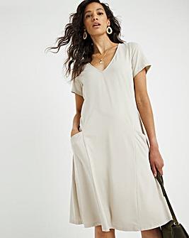 Oatmeal Marl Cap Sleeve Pocket Swing Dress