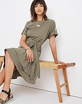 Khaki Button Shoulder Tiered Dress