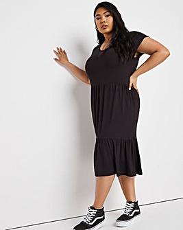 Black Shirred Shoulder Tea Dress