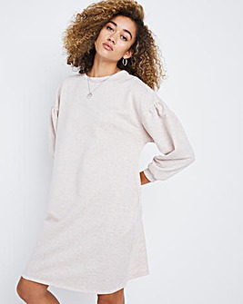 Oatmeal Marl Jersey Sweatshirt Dress